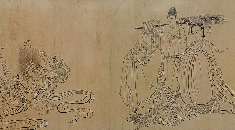 唐代-吴道子《送子天王图》纸本下载