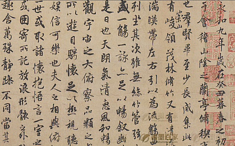 唐-褚遂良<摹兰亭序>(全卷)行书纸本24X88.5m